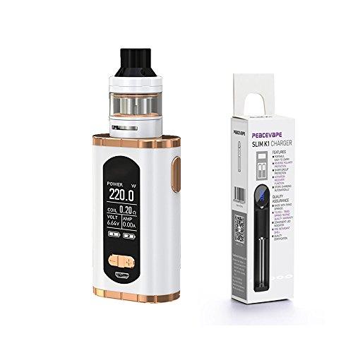 Auténtico Eleaf INVOKE Cigarrillo electrónico 220W ELLO T Tangue Kit (Blanco Oro) con Bono cargador de batería 18650 USB PEACEVAPE Sin Tabaco y Sin Nicotina