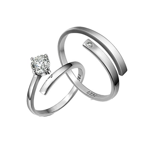 925 Sterling Silber Paarringe Verstellbare Ringe Freundschaftsringe Als Valentine Geschenk (Valentine Ringe)