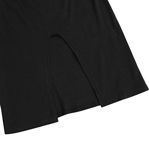 Creti Damen Sexy Party Kleid Casual Dress Langarm T-Shirt Tunika Kleid Schwarz2