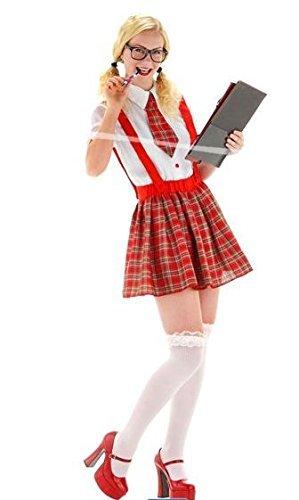 Folat 21930 -Sexy Nerd-Mädchen-Hemd, 3-teilig, (Nerd Für Mädchen Kostüm)