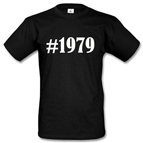 T-Shirt #1979 Hashtag Raute für Damen Herren und Kinder ... in den Farben Schwarz und Weiss Schwarz
