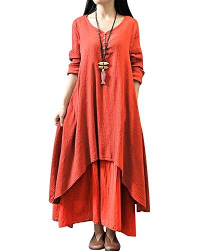 LAMEZI Lanisen Womens Dresses Ladies Long Sleeve Irregular Layers Linen Kaftans
