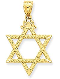 ICE CARATS 14k Yellow Gold Jewish Jewelry Star Of David Pendant Charm Necklace Religious Judaica Fine Jewelry Gift Set For Women Heart