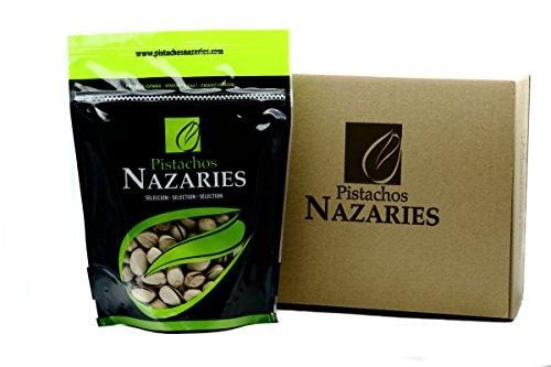 Pistaches Nazaries - Pistaches espagnol de haute qualité, soigneusement sélectionnés et grillé, croustillant et salé au goût. (Pack de 2 sacs de 250 g chacun).