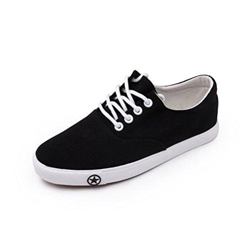 Damen Einfache Tägliche Runde Zehen Schnürsenkel Flache Canvas Kurzschaft Sneakers Schwarz