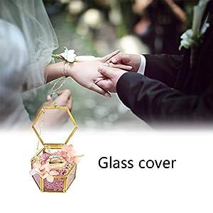 boastvi Glas Ring Box, Schmuckschatulle aus Glas, Schmuck Aufbewahrungsbox, Geometrische Ring Box Glas Geschenk Halter für Halskette Armbänder Ringe Pflanzer Terrarium Hochzeit