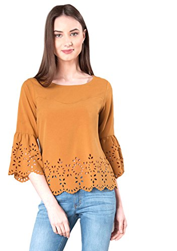 Aashish Garments Mustard Bell Sleeves Cutout Women's Top (mustard-bel-slvs-cuout-top-XXL)