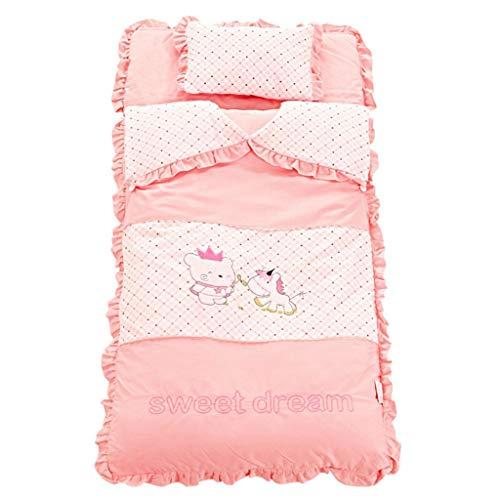 Kinder Schlafsack Baumwolle Anti-Kick ist verdickt Herbst und Winter warme Anti-schmutzigen Schlafsack Kissen (Color : Pink, Größe : 60 * 125cm)