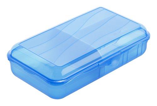 Rotho 1111906113 Vesperdose mit herausnehmbarer Trennwand (Größe: L) 1.7 L Inhalt, BPA-frei - Hergestellt in Schweiz, Kunststoff, aqua blau, 24.5 x 14.5 x 6 cm
