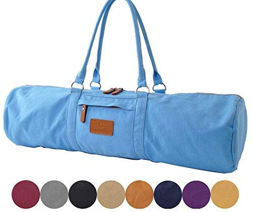 Sac de yoga »Damayanti« de #DoYourYoga / idéal pour tous les matelas classiques de yoga de pilates / Produit 100% toile coton de haute qualité (toile à voile) solide élégant résistant agréeable a porter fabriqué avec soin / ouverture et fermeture facile fabriqué avec soin/ pour les matelas de yoga et de pilates de dimensions allant jusqu'à 186 cm x 60 cm x 0,5 cm / EXCELLENTE QUALITÉ / couleur: bleu marine