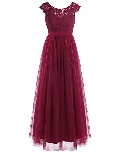 iEFiEL Damen Kleid festlich Spitzenkleid Cocktailkleid Ärmellos elegante Hochzeit Kleider Lange Brautjungfernkleid Weinrot 42 (Herstellergröße: 12)