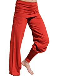 Esparto Sooraj Pantalones de yoga de algodón orgánico, color Sunset-Rot, tamaño L