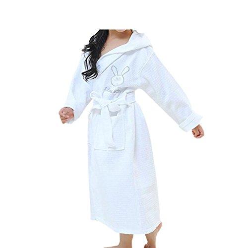 Deylaying Children Kinder Baumwolle Bademantel Terry Frottier Kapuze Robe Kleid Pyjama Schlafanzüge Gürtel Einstellbar Lange Ärmel (Plüsch Terry Hose)