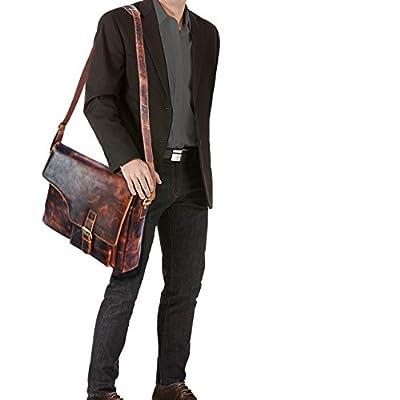 STILORD 'Valerian' Vintage Sac en cuir homme sac besace université bureau sac en bandoulière grand pour ordinateur portables en cuir véritable