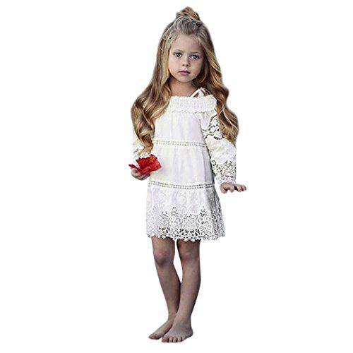 pitze Langarm Blumenkleid Krawatte Kleidungs Schulterfrei Casual Party Kleid Prinzessin Röcke Outfits Set (Spiderman Outfit Kleinkind)