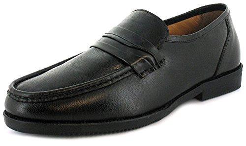 Hombre/Negro Hombre Corte Ancho Zapatos de piel SIN CIERRES - Negro - GB Tallas 6-12 - Negro, 42