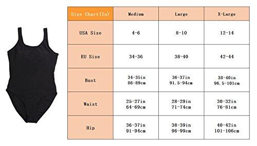 Figuroptimizer Damen Badeanzug Push up Sport/Strand Einteiler Badebekleidung Rückenfrei Swimsuit Set Beachwear mit Abnehmbaren Padding Träger Overall Bodysuit Gr. M/L/XL Black