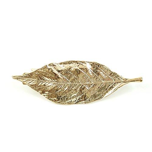 rougecaramel - Accessoires cheveux - Barrette métal forme feuille - doré