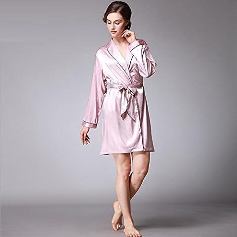 GY&H Luxe de nouvelles femmes en soie pyjamas robes sexy manches longues peignoirs lisses et confortables peignoir