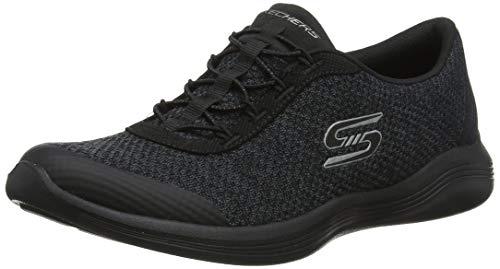 Skechers Envy-Good Thinking, Zapatillas para Mujer, Negro (Black Heather Mesh/Trim Bkcc), 39 EU