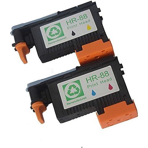 oyat® 2Pack Cabezal De Impresión compatible para HP 88C9381A negro y amarillo C9382A Magenta y cian compatible para impresoras HP Officejet Pro