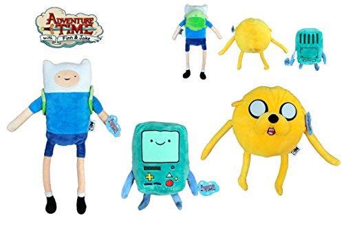 PMS Adventure Time - Packung mit 3 ausgestopften Tieren Finn (Kind 45cm) + Jake (gelber Hund 30cm) und Beemo (22cm). Super weiche Qualität (Hund Die Ausgestopften Spielzeug)