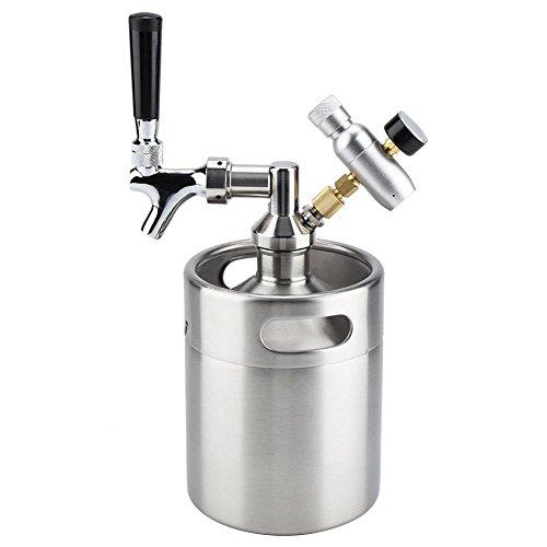 2L / 64 Unze Mini Bier Keg Growler, Edelstahl Bierfass Bier Vorratsbehälter Dispenser Kit, Portable Bierkühler Verstellbarem CO2 Pressure Regulator für Hausbrauen Craftbier