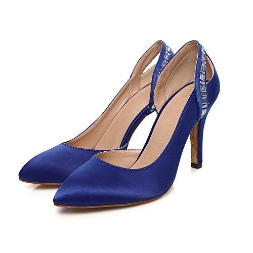VogueZone009 Damen Ziehen Auf Hoher Absatz Satin Eingelegt Spitz Zehe Pumps Schuhe Blau