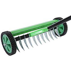 SOULONG Aérateur à Gazon Pratique Vert Rechen en Acier galvanisé et PP, Donnez à Votre pelouse Une vitalité de pelouse à la Main avec Une Largeur de Travail de 44 cm