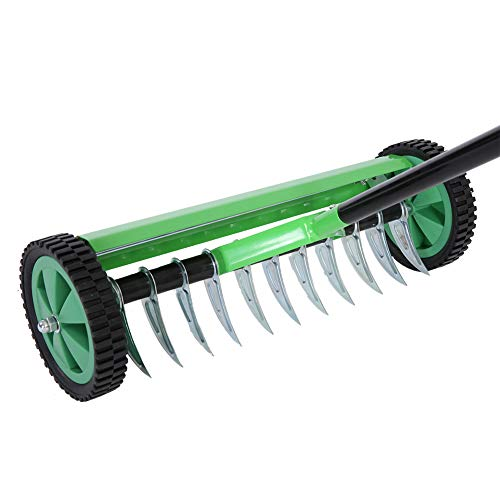 SOULONG Grün Praktischer Rasenbelüfter, Rechen aus verzinktem Stahl und PP, Verleihen Sie dem Rasen Vitalität, Handvertikutierer mit 44 cm Arbeitsbreite