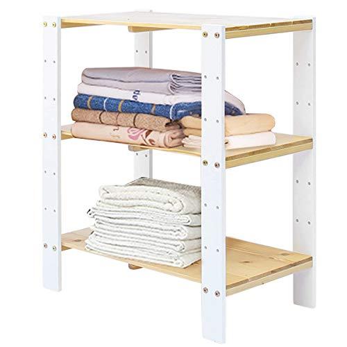 Vlush Standregal, Regal Holz, Buche 3-Stöckiges, Regal verstellbar, Für Küche, Schlafzimmer, Wohnzimmer, Badezimmer, ca.61 * 31 * 71 cm (Weiß+Natur) -