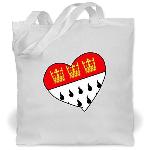 Shirtracer Karneval & Fasching - Köln Wappen Herz - Unisize - Weiß - WM101 - Stoffbeutel aus Baumwolle Jutebeutel lange Henkel
