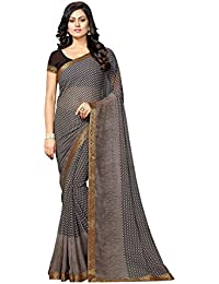 Vastrang Sarees Women's Faux Georgette Printed Saree With Blouse Piece & Lace Border (18511-21)