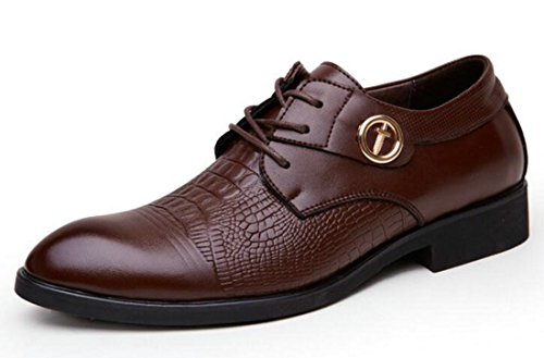 Men's Oxfords Lace Up Pointed Toe Brogues Flats Pu Leather Shoes brown