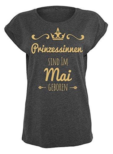 Damen Ladies Extended Shoulder Tee T-Shirt Sommershirt Damenshirt Prinzessinnen sind geboren charcoal Gold Mai