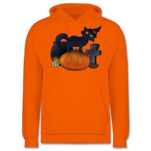 Halloween - Halloween Katze mit Hexenhut - 3XL - Orange - JH001 - Herren Hoodie