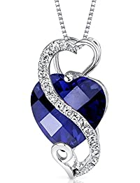 Revoni 14 Karat White Gold Heart Shape 3.85 carats Blue Sapphire Diamond Pendant