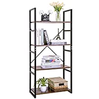 Llivekit Bookshelf Vintage4-Tier Bookcase Wood DisplayShelf UnitsStorageOrganizerfor Home Office (4 Tier)