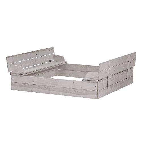 roba Sandkasten aufklappbar, Holzsandkasten aus wetterfestem Massivholz, grau lasiert, zur Sitzbank unfunktionierbarer Deckel inklusive