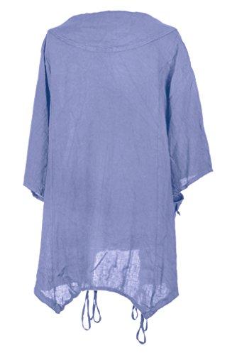 Mesdames Womens italien Lagenlook excentrique superposition manches courtes artistique collier Plain Tunique robe poches précipita une taille Plus UK 12-18 Bleuet