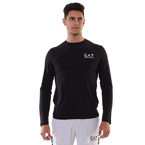 Emporio Armani EA7 T-shirt pull manches longues col rond homme bleu -...