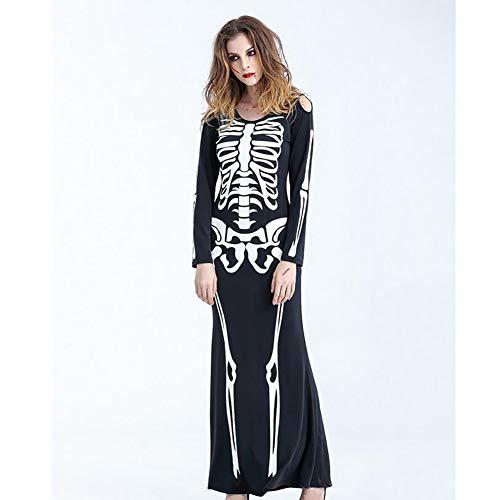 (SHANGLY Halloween Party Bodysuit Frauen/Männer Sexy Schädel Skelett Drucke Catsuit Kleid Kostüm,Female,M)