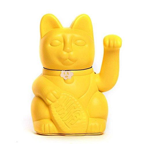 Gato de la Suerte. Lucky Cat. Maneki Neko. COLOR AMARILLO LIMON 10x6x15cm