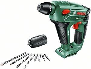 Bosch DIY Akku-Bohrhammer Uneo Maxx, ohne Akku, Ladegerät, Rundschaftadapter 18 V, 2.5 Ah, 10 mm Bohr-Durchmesser Beton
