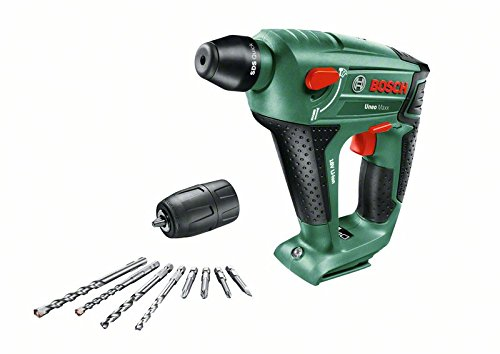 Preisvergleich Produktbild Bosch DIY Akku-Bohrhammer Uneo Maxx, ohne Akku, Ladegerät, Rundschaftadapter 18 V, 2.5 Ah, 10 mm Bohr-Durchmesser Beton