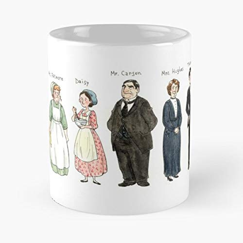 Downton Abbey England British - Best Gift Mugs Mrs Hughes Patmore Daisy Moseley Anna Bates Fanart Character Design Watercolours Caricature Mug Best Personalized Gifts Daisy Tumbler