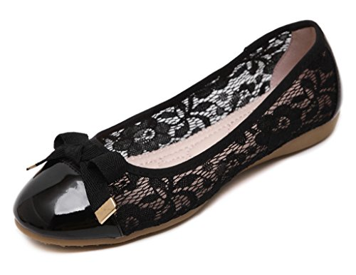 Fortunings JDS Doux bowknot Casual Nest Egg chaussures à semelle souple / à tête ronde Femmes Roll Noir