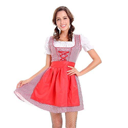 VECDY Damen Kleid, Herbst Damen Dirndl Kleid Bayerisches Bier Mädchen Oktoberfest Cosplay Kostüme Karneval Kleid Exquisite Magd passen(Rot,36)