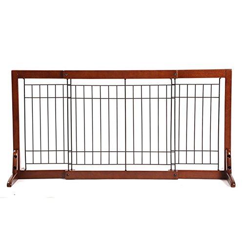 Barrière de sécurité Grande Porte Autoportante en Bois Marron Extra-Large Chien/Chat Porte pour Escalier Intérieur De La Porte 57-161cm De Large (Taille : L)