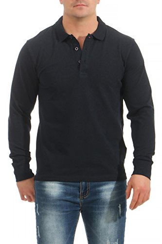 Mivaro Herren Langarmshirt Poloshirt Langarm Hemd Longsleeve Polo Shirt, Größe:L, Farbe:Dunkelblau